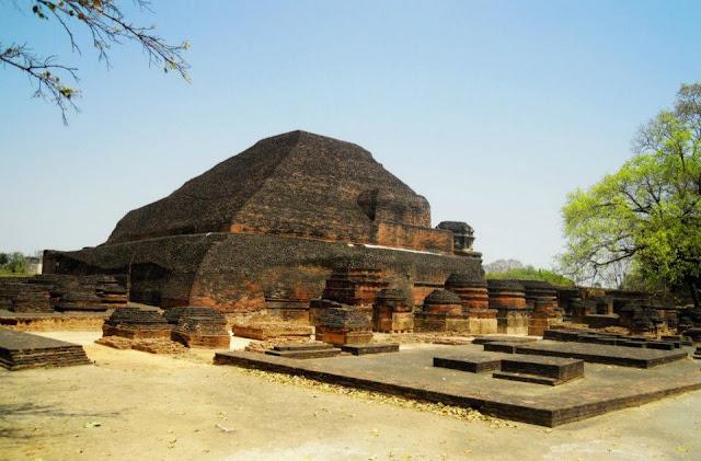 From the back, the Sariputta stupa at Nalanda looks like a stepped pyramid.