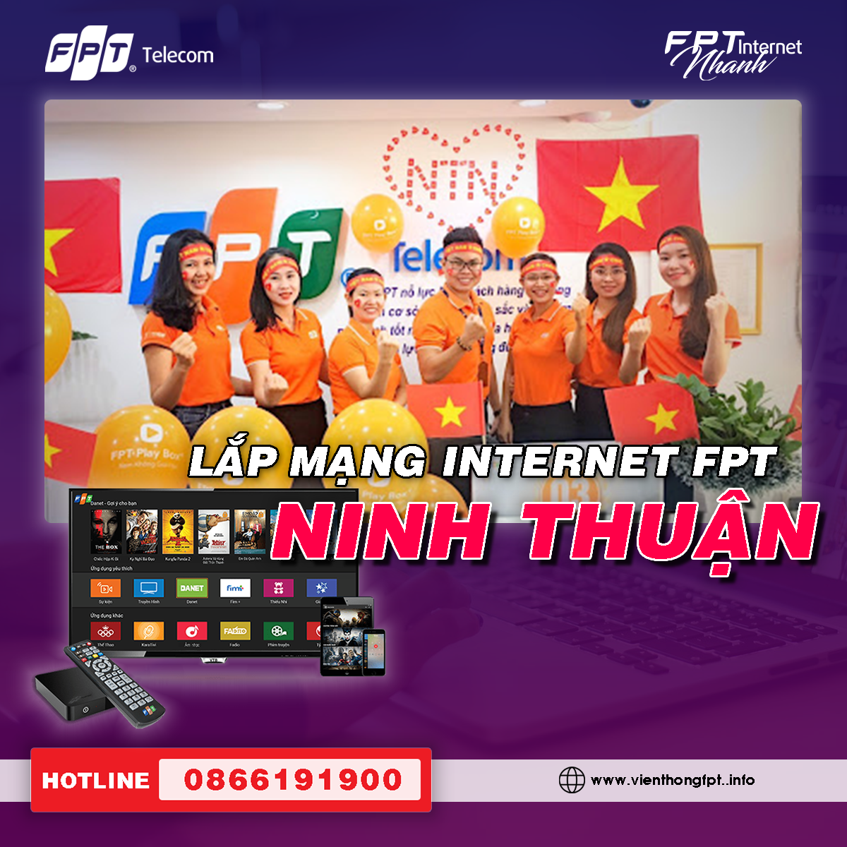 Đăng ký Internet FPT tại Ninh Thuận - Miễn phí lắp đặt - Trang bị Modem Wifi