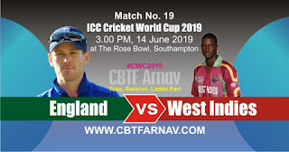 19th Match WI vs Eng World Cup 2019 Today Match Prediction