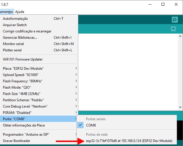 Network port - Porta de Rede IDE Arduino