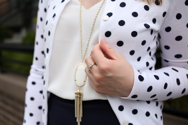 The Polka Dot Cardigan | Something Good, Kendra Scott Rayne Necklace