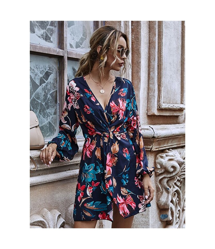 https://www.shestar.com/sexy-v-collar-lantern-sleeve-twist-waist-floral-dress.html