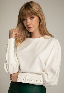 Andreea Raicu - Дамска бяла Блуза с буфан ръкави