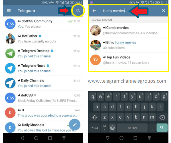 find telegram channels