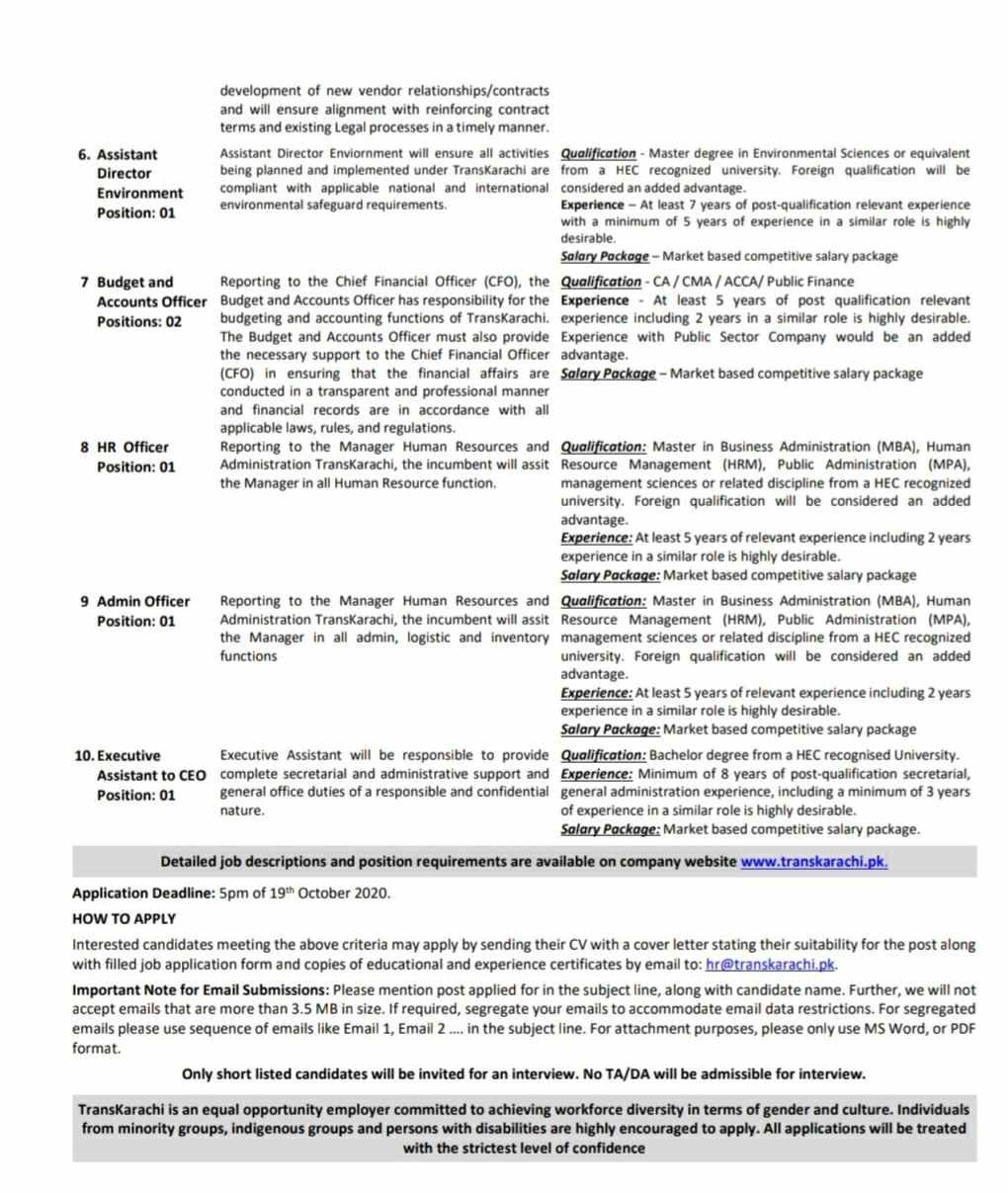 TransKarachi Operator of the Karachi Breeze System Jobs 2020 | Public Sector