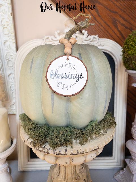 French frame chalkboard candles moss urn pumpkin