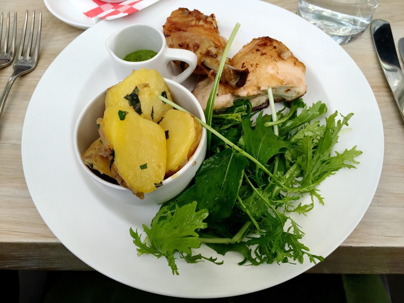 roast chicken, potatoes and salad