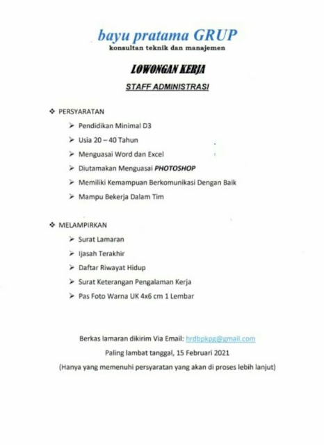 Loker Kupang Staff Administrasi di Bayu Pratama Group