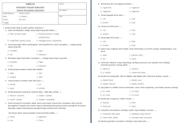Soal UTS Kelas 6 Tema 3 Subtema 3
