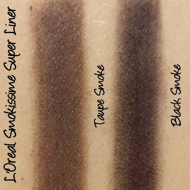 L'Oreal Smokissime Super Liner - Black Smoke, Taupe Smoke Swatches & Review