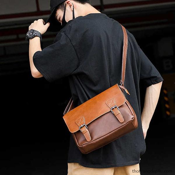 Túi đeo chéo da nam Vintage thời trang cổ điển cao cấp DNM018