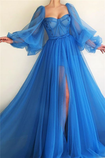 Sexy Long Sleeves Sweetheart See Through Bodice Prom Dress | Cheap Front Slit Blue Long Prom Dress