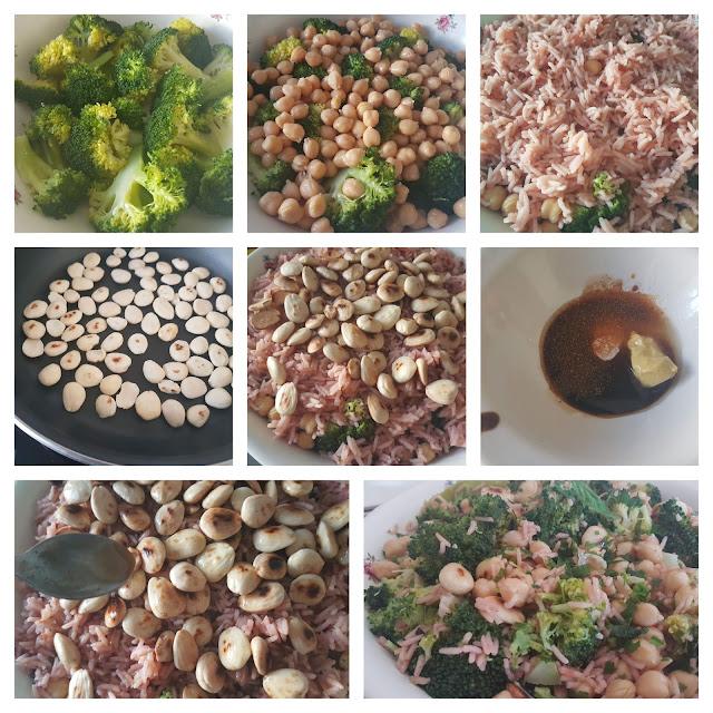 Ensalada de brócoli, arroz, garbanzos y almendras #lunessincarne