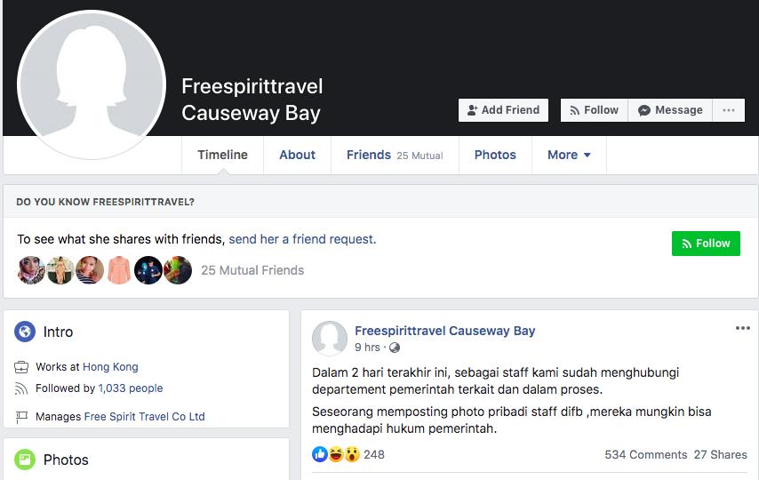 Merasa nama baiknya Tercemar, Staff Free Spirit Travel Ancam Netizens Akan Berurusan dengan Hukum di Hong Kong