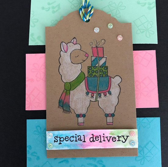 Special Delivery Llama Gift Tag by Prudence N | Llama Deliver Stamp Set by Newton's Nook Designs #newtonsnook #handmade