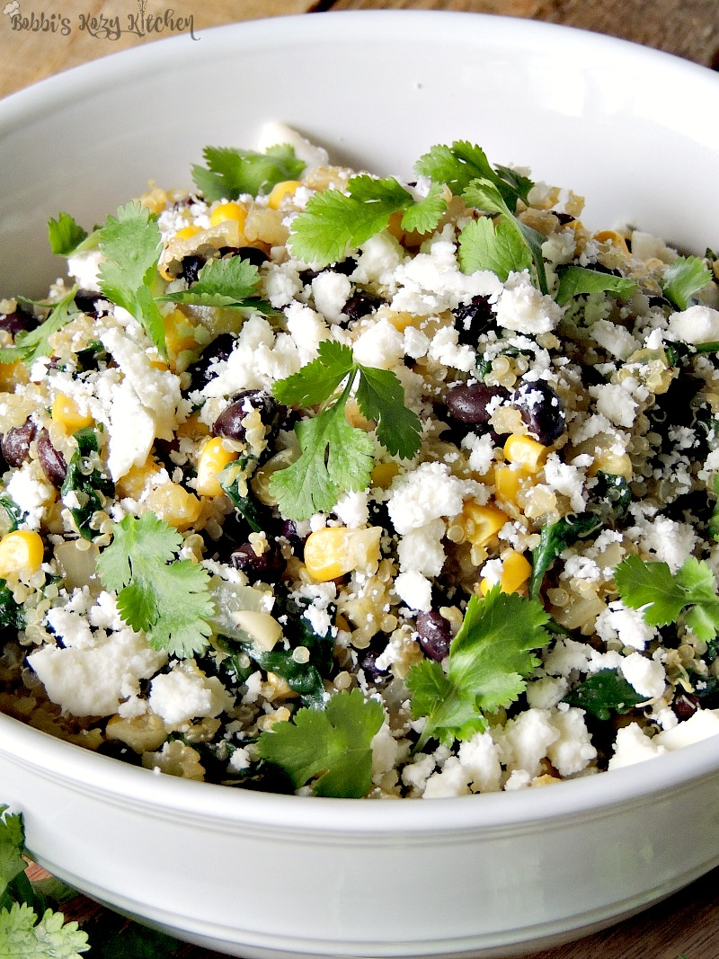 ex-Mex Black Bean Quinoa Salad is full of protein, and fiber, fills you up, makes you feel good, and doesn't skimp on taste. From www.bobbiskozykitchen.com