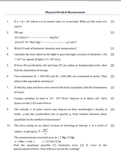 Physical world and measurement ,iit,jee test paper,law of motion ,kinematics, Test paper,solved test paper,important questions for exam,class 11 physics