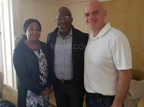 FIFA President Gianni Infantino pictured with Amaju Pinnick, confirms he'll visit Nigeria in 2 weeks