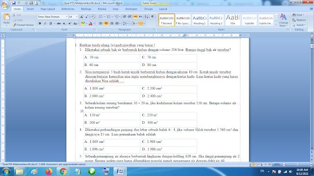 Soal PTS Matematika Kelas 6 kurikulum 2013 Revisi Terbaru dan Jawaban