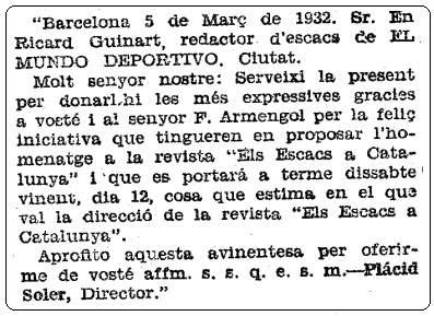 Nota sobre ajedrez en Mundo Deportivo, 10 de marzo de 1932
