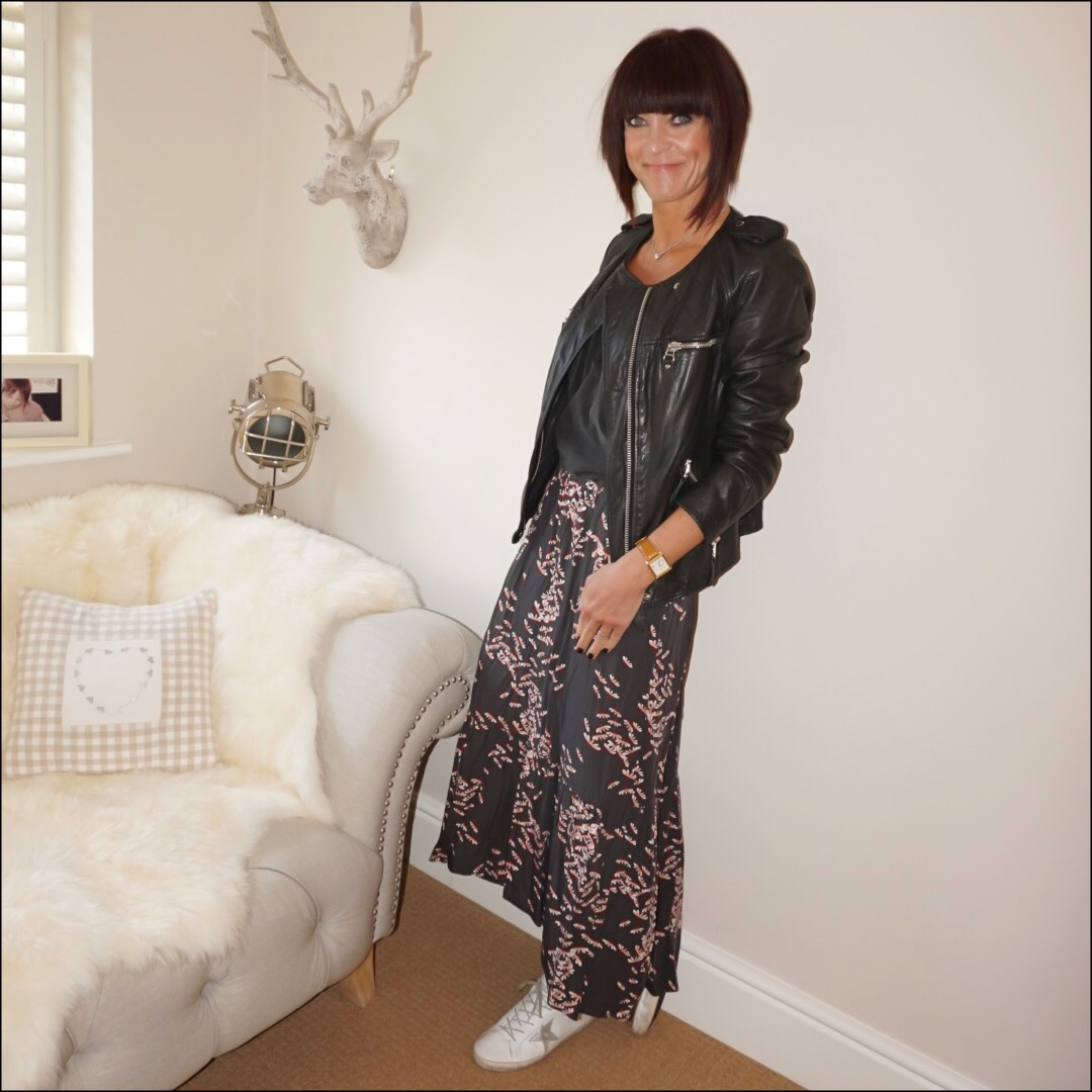 my midlife fashion, isabel marant etoile leather jacket, zara lace trim camisole, golden goose superstar low top leather trainers, hush veria frill skirt