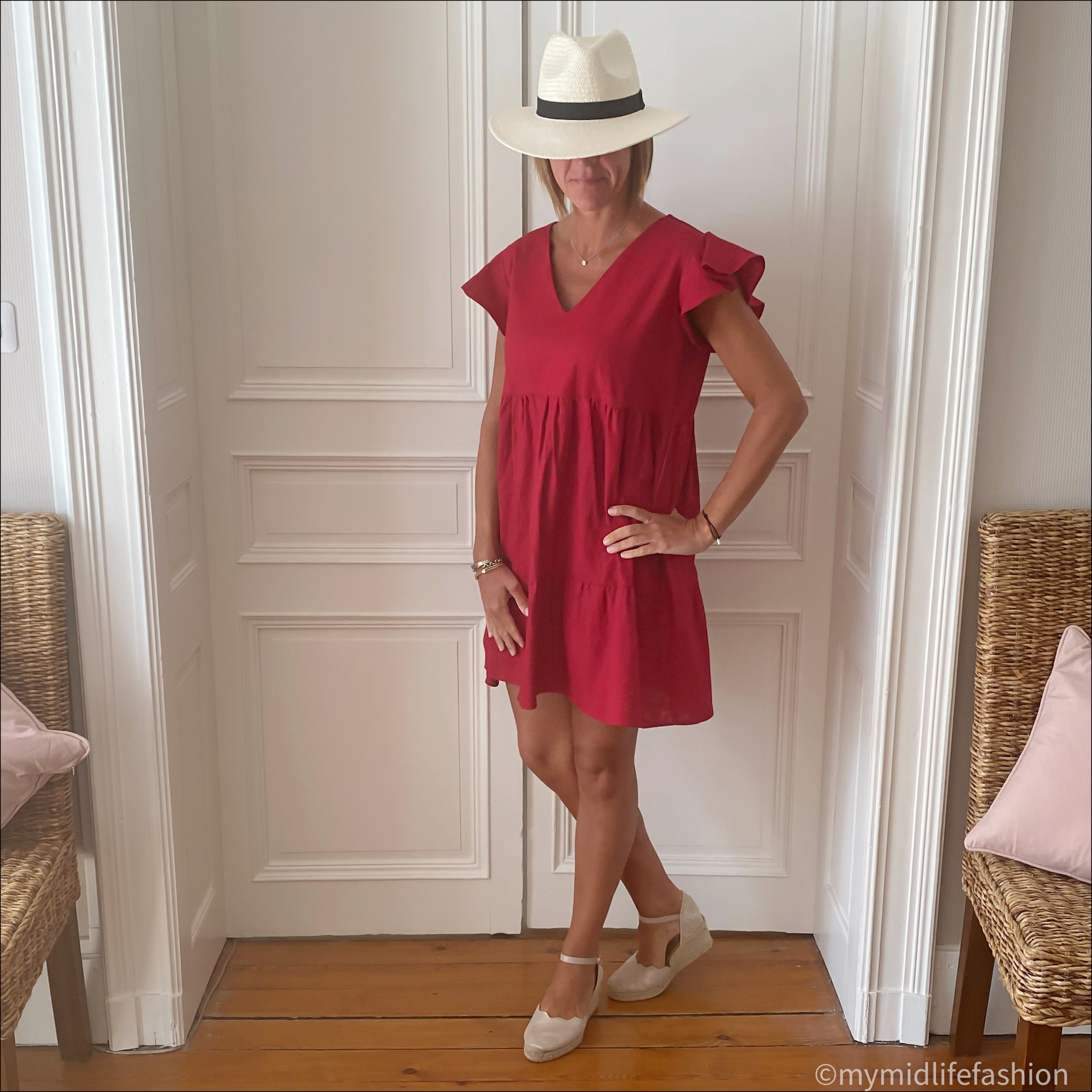 my midlife fashion, rikya ceres red linen short dress, zara Panama hat, carl scrap Brittany metallic wedge sandals