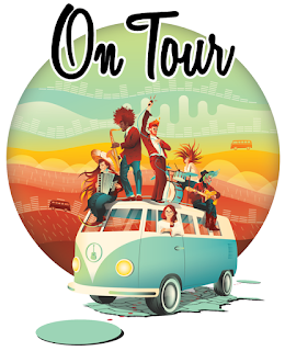 The cover art. The title in a cursive font above several musicians on top of a VW bus, which is parked on a map of the United States.