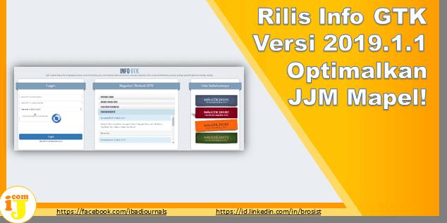Rilis Info GTK Versi 2019.1.1 Optimalkan JJM Mapel!