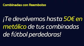 William hill Reembolso de hasta 50€ en metálico hasta 11-10-2020