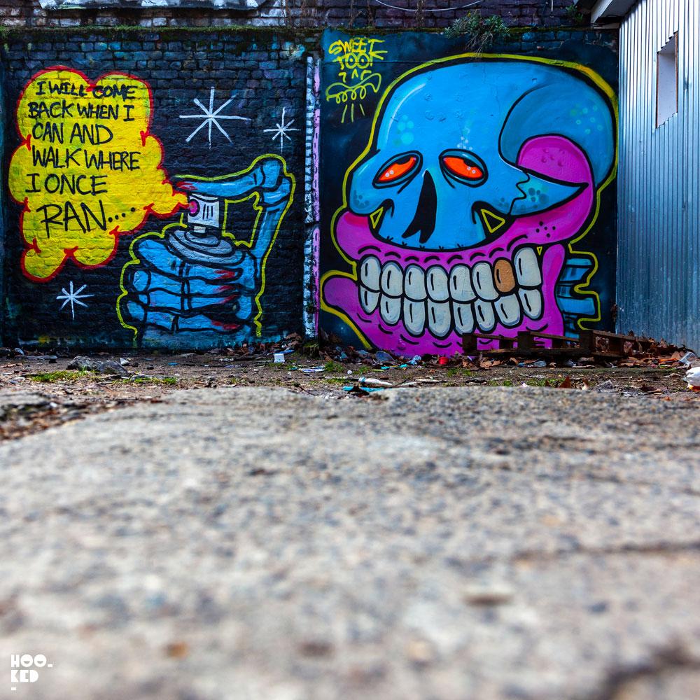 UK Street Artist Sweet Toof Returns To London with large skull spray painting