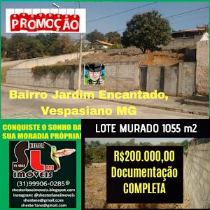 Lote murado de 1055m²,  no bairro Jardim Encantado, Vespasiano MG,