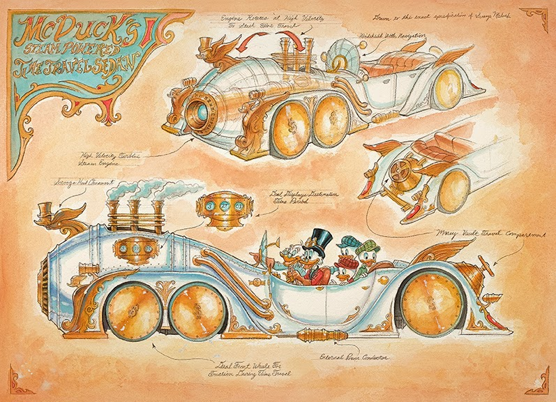 Uncle Scrooge McDuck McDuck's Steam Powered steampowered time traveling sedan Mechanical Kingdom Walt Disney World mark Page WDW Disneyland