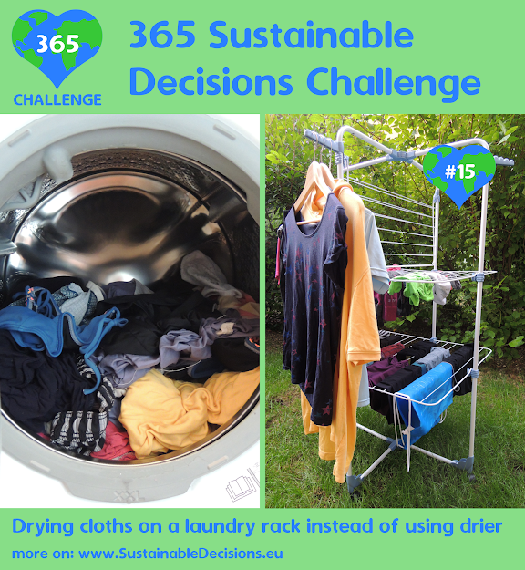#15 - Drying clothes on a laundry rack instead of using drier, sustainable living, sustainability, climate action, saving energy, saving money