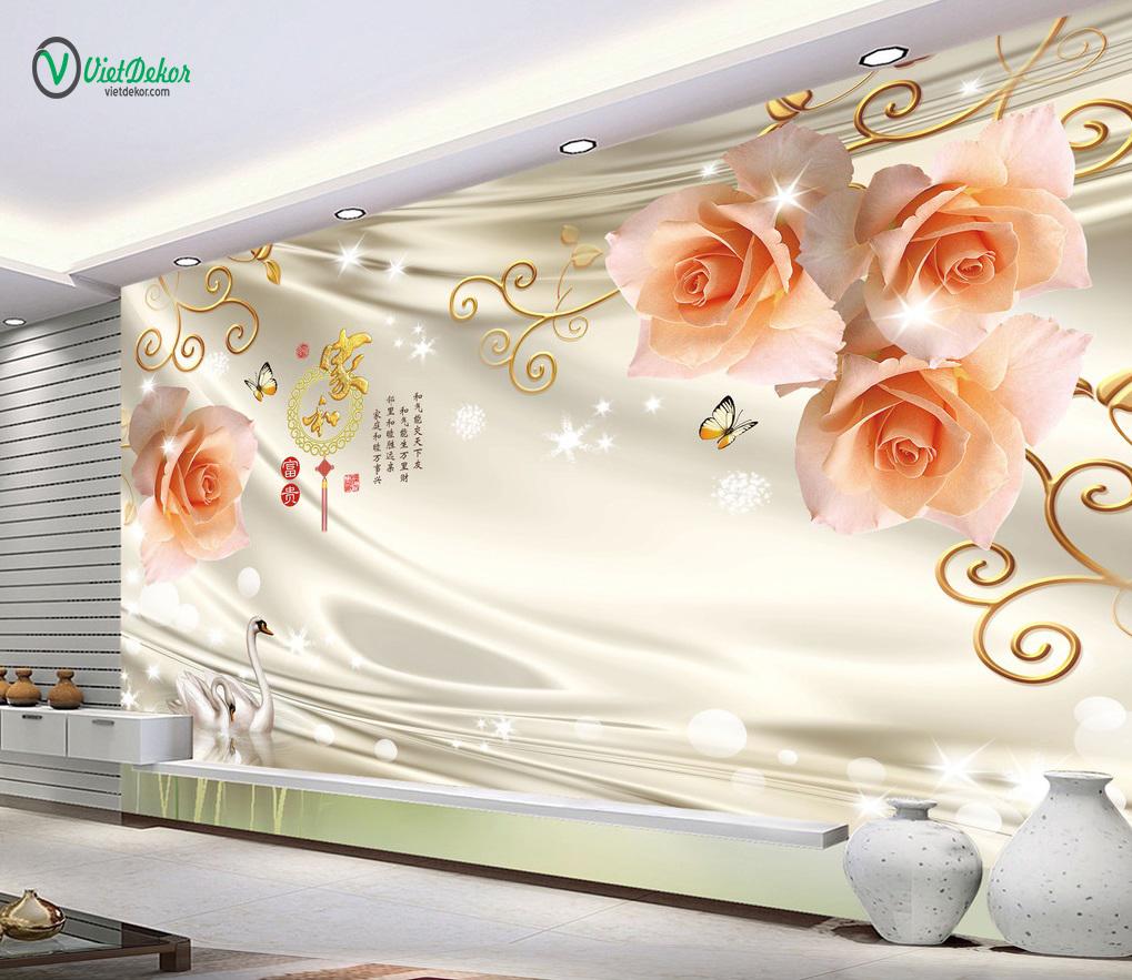 Tranh dán tường 3d hoa hổng thiên nga trang trí phòng