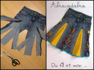 Jeans trouser to skirt