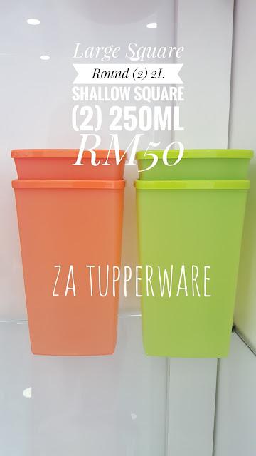 Tupperware Large Square Round (2) 2L + Shallow Square Round (2) 250ml
