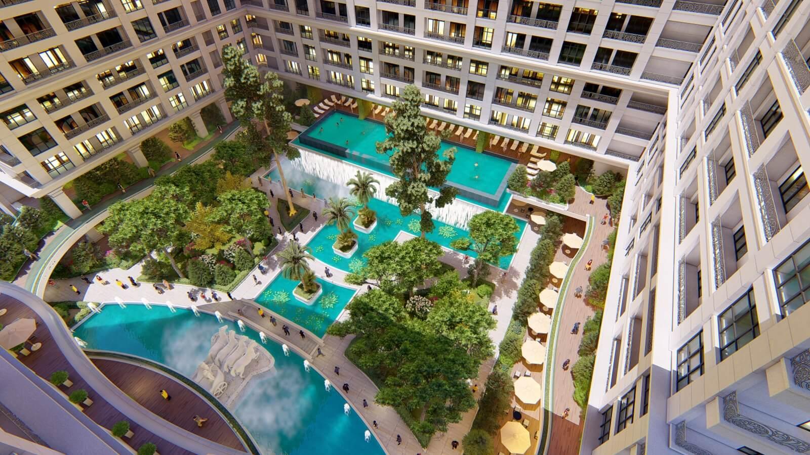 Không gian gianh nội khu dự án Sunshine Garden Vĩnh Tuy