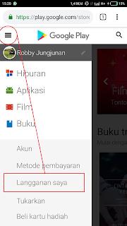 cara berhenti berlangganan pada aplikasi google playstore