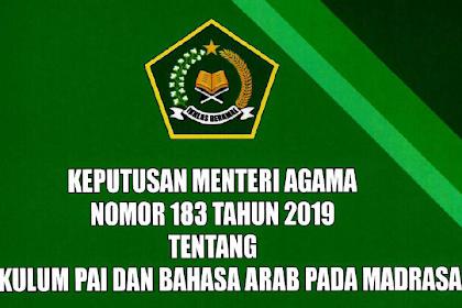 Keputusan Menteri Agama No. 183 Tahun 2019 Tentang Kurikulum PAI dan Bahasa Arab pada Madrasah