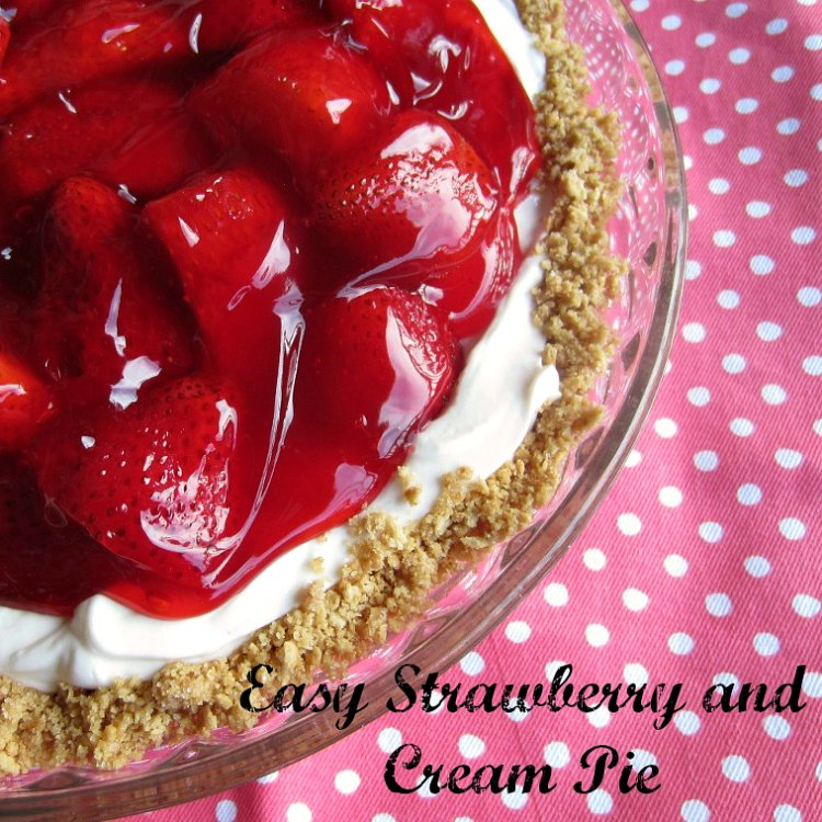 Easy Strawberry and Cream Pie by Renee's Kitchen Adventures overhead view of corner of whole pie in pie plate with pink polka dot background and text overlay