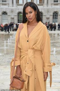 Idris Elba's stunning wife Sabrina Dhowre turns heads in a chic mustard shirt dress