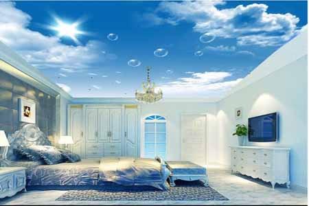 wallpaper dinding kamar tidur motif awan di langit biru