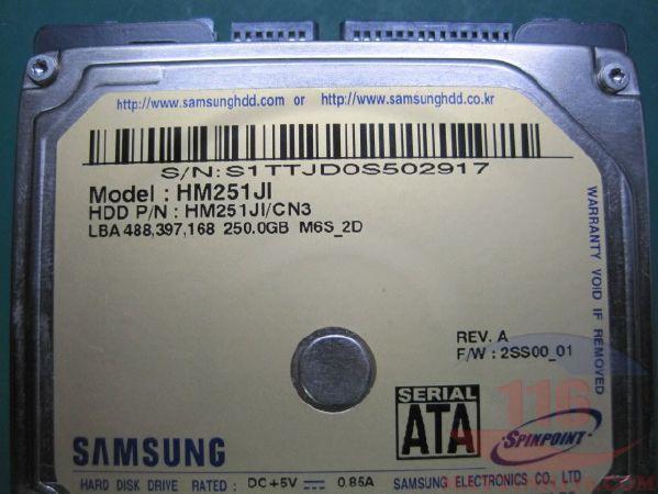 Cứu dữ liệu ổ cứng di động bị BAD Samsung 250Gb