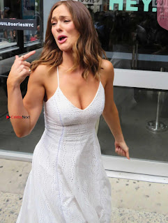 Minka Kelly exposing her huge cleavages at AOL Build Studios in Manhattan