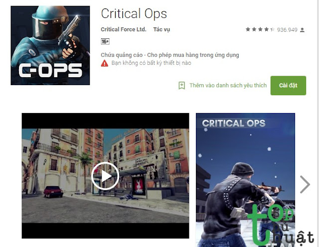 Ứng dụng Critical Ops