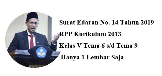 RPP 1 Lembar K-13 Kelas 5 SD/MI Tema 6 Hingga Tema 9 Revisi