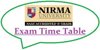 Nirma University Exam Date Sheet 2020