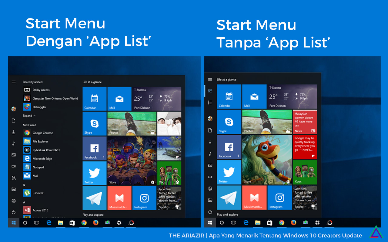 Windows 10 Creators Update New Start Menu
