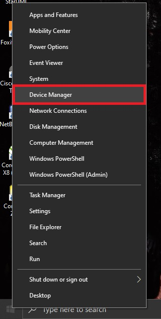 Buka Device Manager dengan cara klik kanan pada logo windows di pojok kiri bawah, lalu klik Device manager.