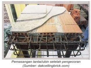Pemasangan lantai/ubin setelah pengecoran